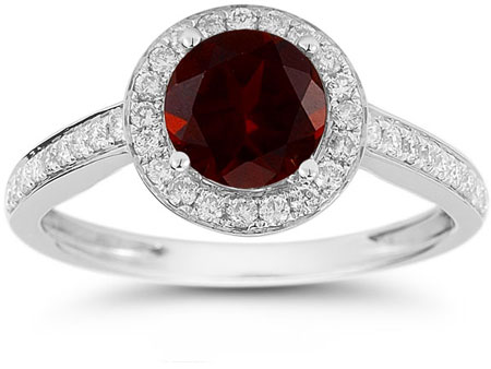 Modern Halo Garnet Diamond Ring in 14K White Gold