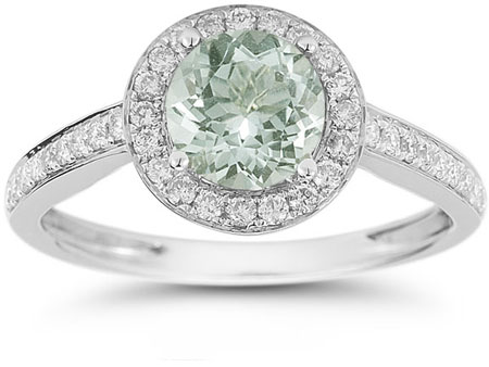 Modern Halo Green Amethyst Diamond Ring in 14K White Gold