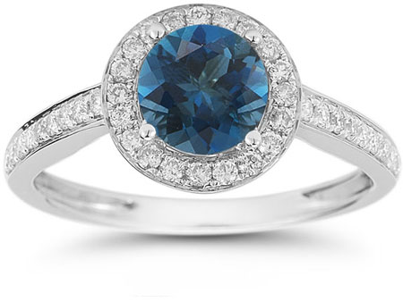 Modern Halo London Blue Topaz Diamond Ring in 14K White Gold