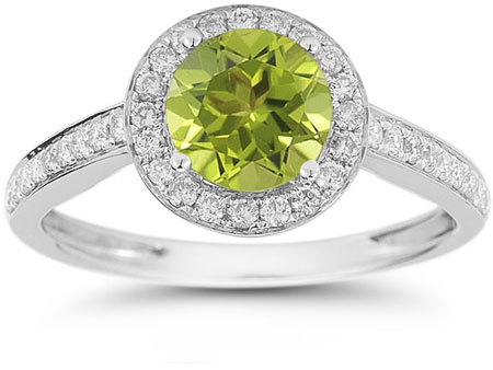 Modern Halo Peridot Diamond Ring in 14K White Gold