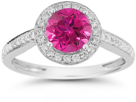 Modern Halo Pink Topaz Diamond Ring in 14K White Gold