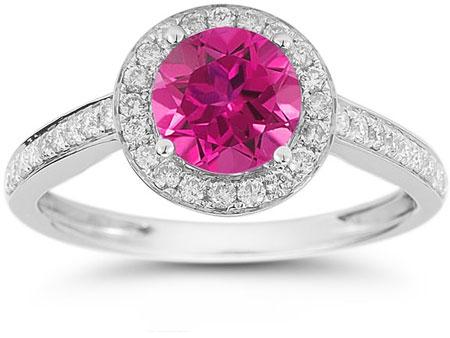 Modern Halo Pink Topaz Diamond Ring in 14K White Gold