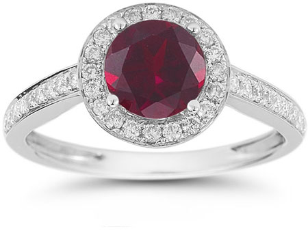 Modern Halo Ruby Diamond Ring in 14K White Gold