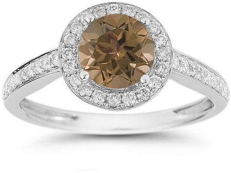 Modern Halo Smoky Quartz Diamond Ring in 14K White Gold