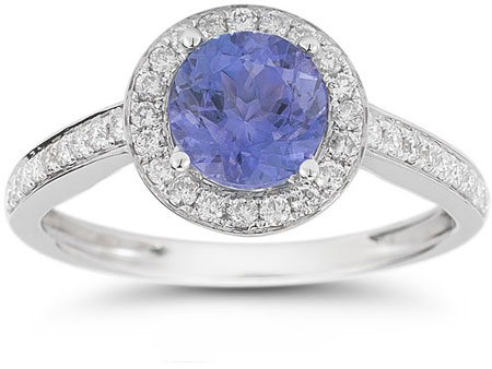 Modern Halo Tanzanite Diamond Ring in 14K White Gold
