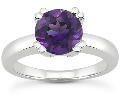 Modern Solitaire Amethyst Ring, 14K White Gold