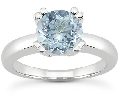 Modern Solitaire Aquamarine Solitaire Ring