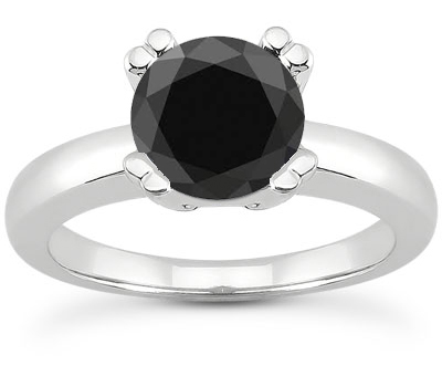 1 Carat Black Diamond Modern Solitaire Engagement Ring