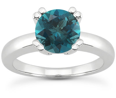 1 Carat Blue Diamond Modern Solitaire Engagement Ring