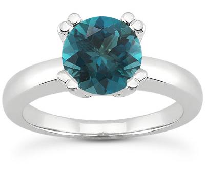 0.50 Carat Blue Diamond Modern Solitaire Engagement Ring