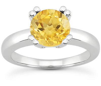 Citrine Modern Solitaire Engagement Ring, 14K White Gold