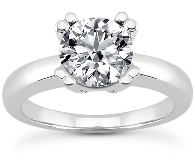 CZ Modern Solitaire Engagement Ring in 14K White Gold