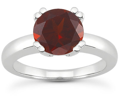 Garnet Modern Solitaire Ring, 14K White Gold