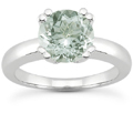 Green Amethyst Modern Solitaire Ring