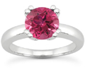 Pink Sapphire Solitaire Ring, 14K White Gold