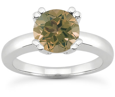 Smoky Quartz Modern Design Engagement Ring