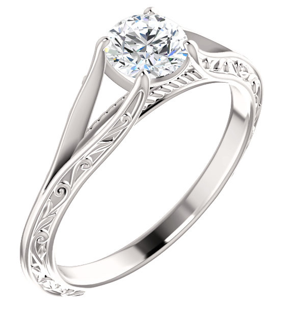 Paisley 4-Prong Scroll Solitaire Ring in 14K White Gold
