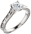 3/4 Carat Paisley Scroll Diamond Engagement Ring