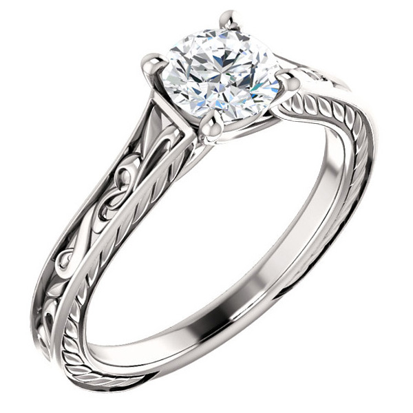 Platinum Scroll-Work 0.75 Carat Diamond Engagement Ring