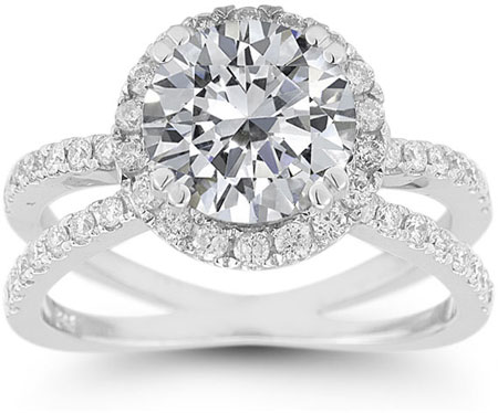 Pave Diamond Criss-Cross White Topaz Halo Ring
