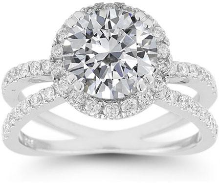 Pave Diamond Criss Cross White Topaz Halo Ring