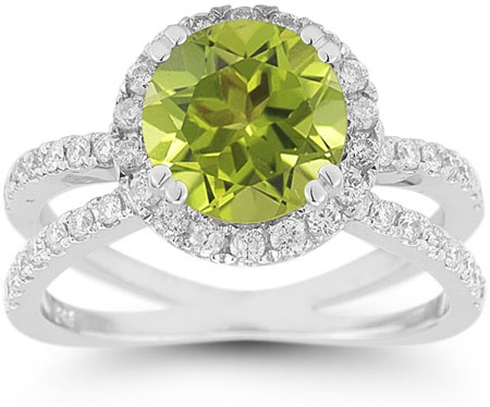Pave Diamond Criss-Cross Peridot Halo Ring