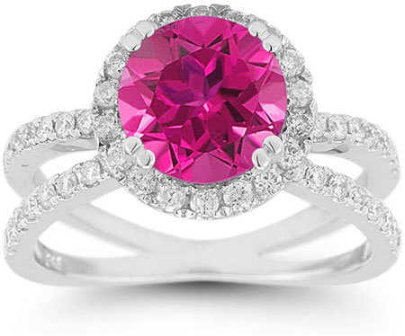 Pave Diamond Criss-Cross Pink Topaz Halo Ring