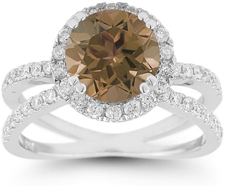 Pave Diamond Criss-Cross Smoky Quartz Halo Ring