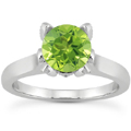 Peridot and Diamond Accent Solitaire Engagement Ring