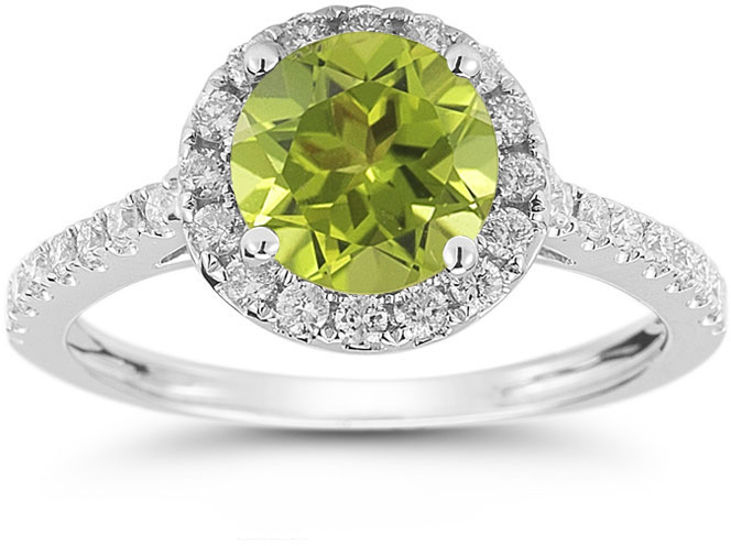 Peridot and Diamond Halo Gemstone Ring in 14K White Gold
