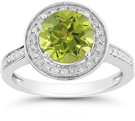 Peridot and Diamond Halo Ring in 14K White Gold