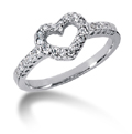 Petite Diamond Heart Ring in 14K White Gold
