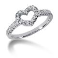 Petite Diamond Heart Ring in 14K White Gold