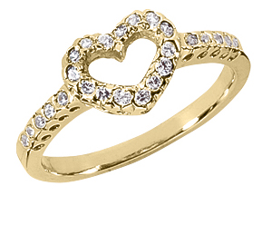 Petite Diamond Heart Ring in 14K Yellow Gold
