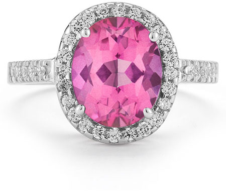 Pink Topaz and Diamond Cocktail Ring in 14K White Gold