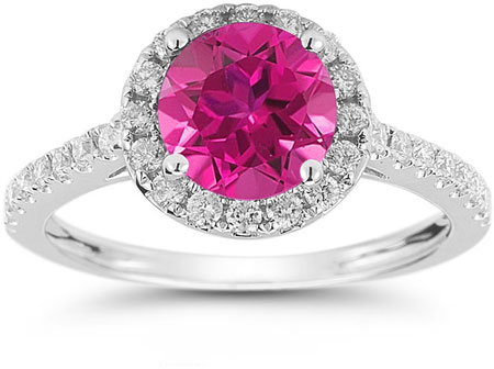 Pink Topaz and Diamond Halo Gemstone Ring in 14K White Gold