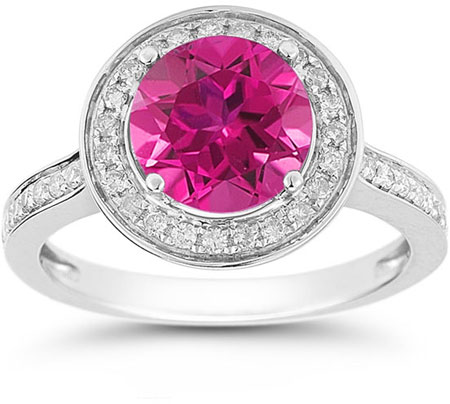 Pink Topaz and Diamond Halo Ring in 14K White Gold
