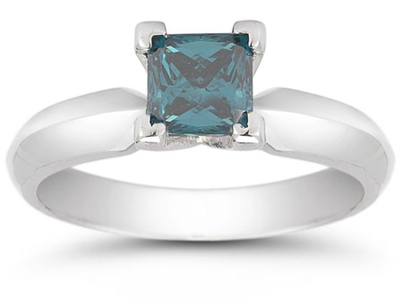 1 Carat Princess Cut Blue Diamond Solitaire Ring