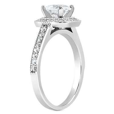 1 12 Carat PrincessCut Halo Engagement and Wedding Ring Set