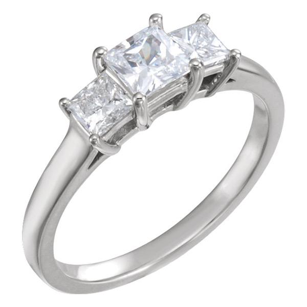 1 Carat Princess-Cut Three-Stone Diamond Engagement or Anniversary Ring