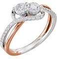 3/4 Carat Rose and White Gold 2-Stone Diamond Engagement Ring