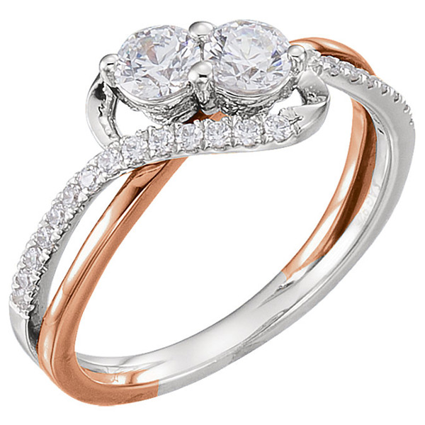 3/4 Carat Rose and White Gold 2-Stone Diamond Engagement Ring