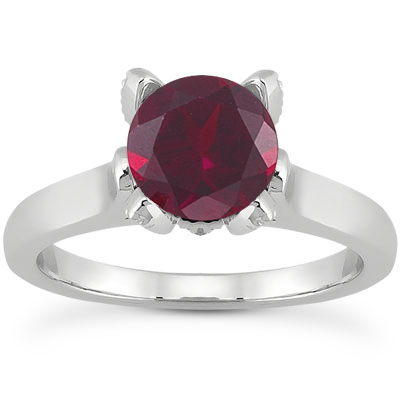 Ruby and Diamond Accent Solitaire Engagement Ring