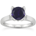 Sapphire and Diamond Accent Solitaire Engagement Ring