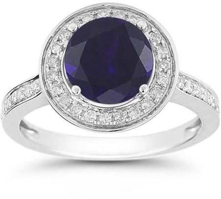 Modern Halo Sapphire Diamond Ring in 14K White Gold