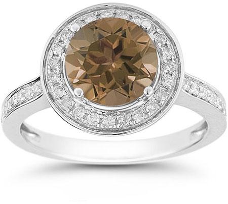 Smoky Quartz and Diamond Halo Ring in 14K White Gold