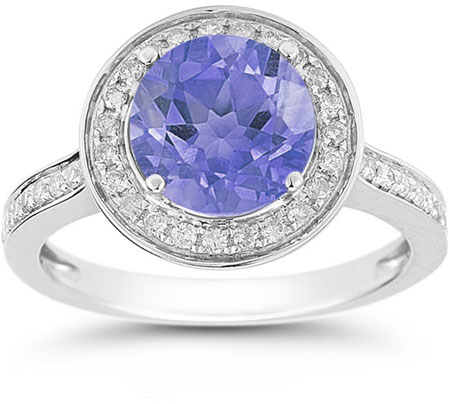 Tanzanite and Diamond Halo Ring in 14K White Gold