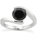 1/2 Carat Tension Set Black Diamond Solitaire Ring