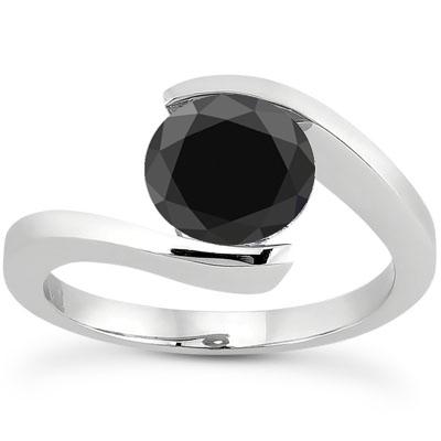 1 Carat Tension Set Black Diamond Engagement Ring