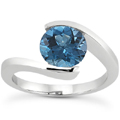 1/2 Carat Tension Set Blue Diamond Solitaire Ring